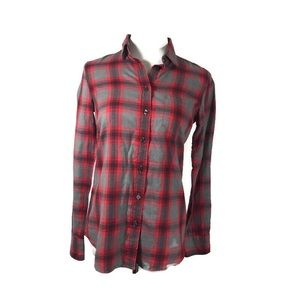 J Crew Perfect Flannel Shirt Grey/Red NWOT
